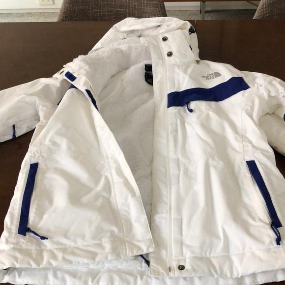 North Face, bright white insulated ski jacket